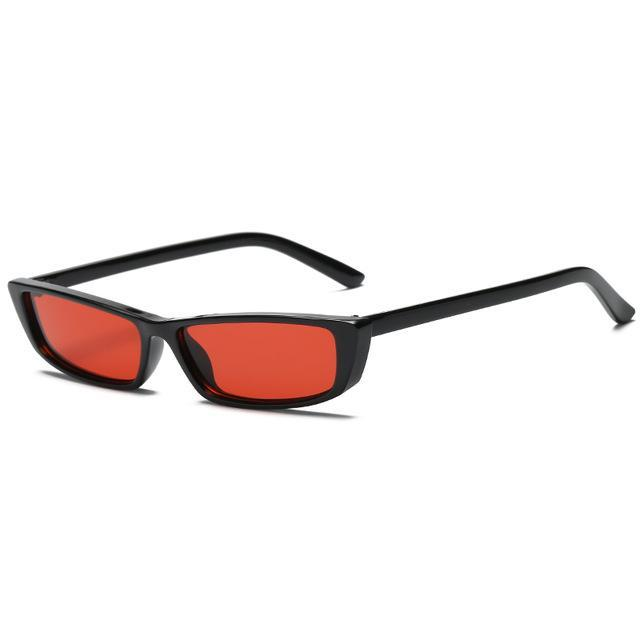 Retro Rectangle Sunglasses - Black F Red - Women