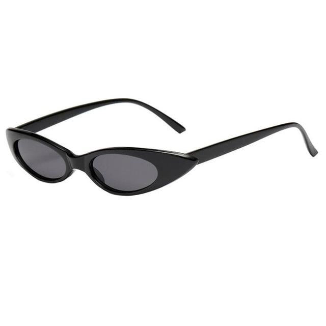 Oval Frame Cat Eye Sunglasses - Black Frame - Women
