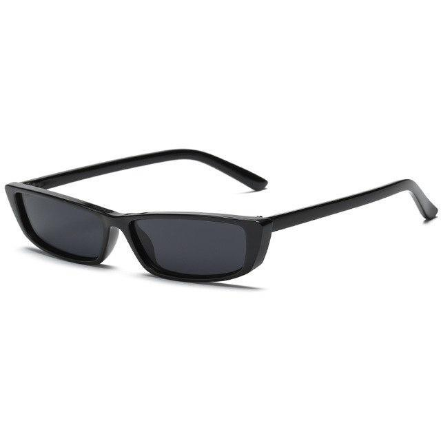 Retro Rectangle Sunglasses - Black - Women