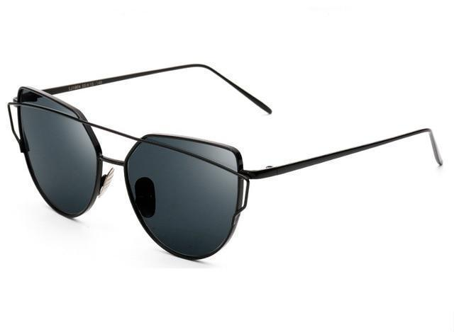 Womens Alloy Frame Cat Eye Sunglasses - Blacked Out - Women