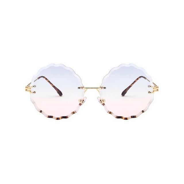 Rimless Round Sunglasses - Blue Pink Lens - Women