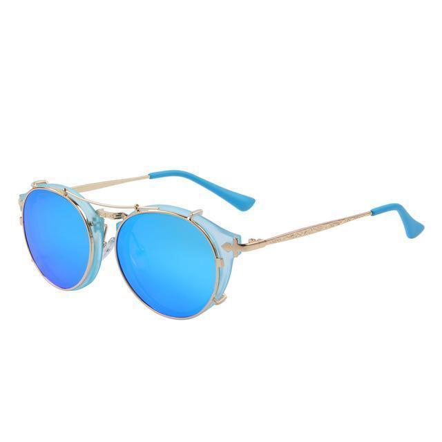 Steampunk Round Sunglasses - Blue - Women