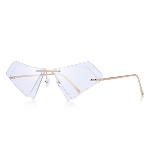 Skeyeware Shades Women C06 Gold Clear Double Lens Rimless Women's Sunglasses