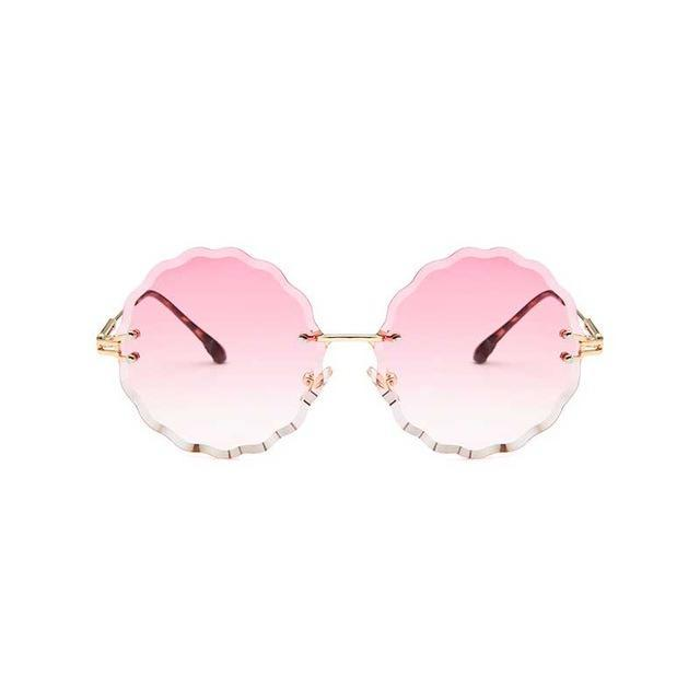 Rimless Round Sunglasses - Pink Lens - Women