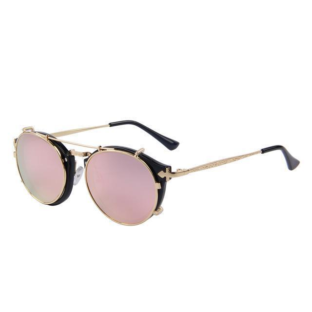 Steampunk Round Sunglasses - Pink - Women