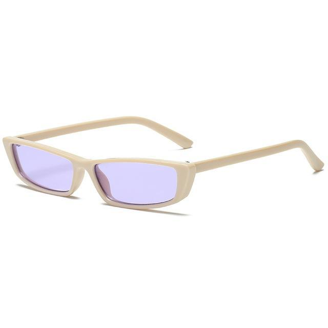 Retro Rectangle Sunglasses - Purple - Women
