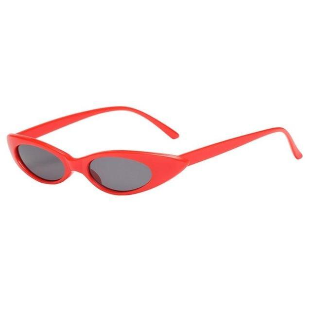 Oval Frame Cat Eye Sunglasses - Red Frame - Women