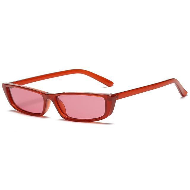 Retro Rectangle Sunglasses - Red - Women