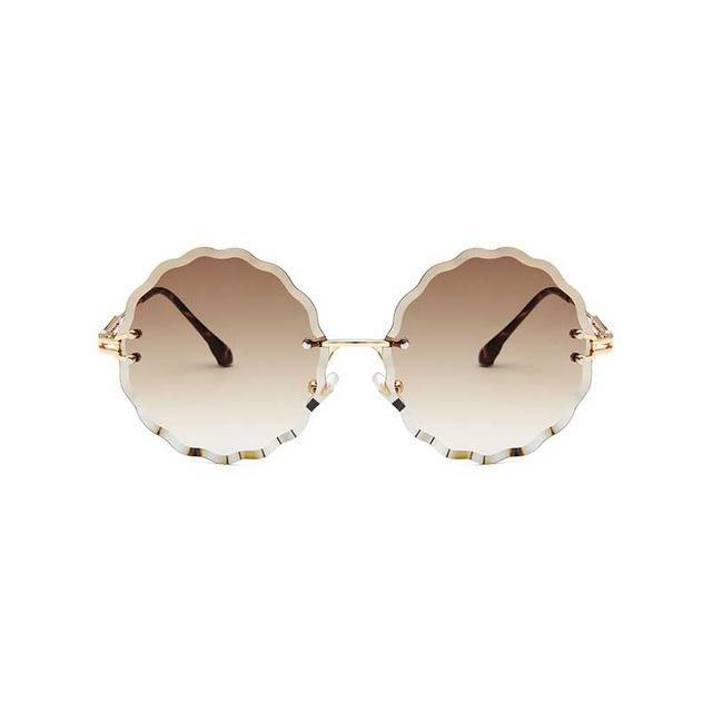 Rimless Round Sunglasses - Tea Lens - Women