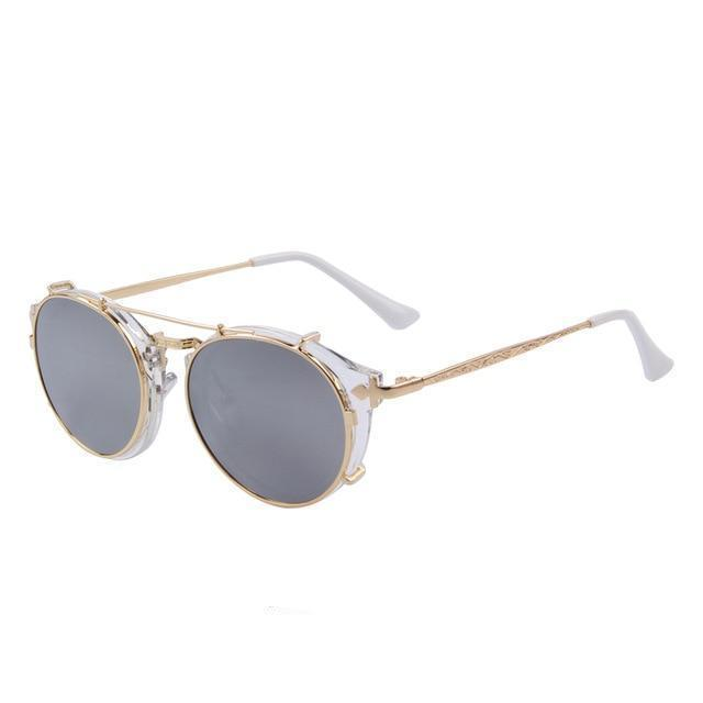 Steampunk Round Sunglasses - White - Women