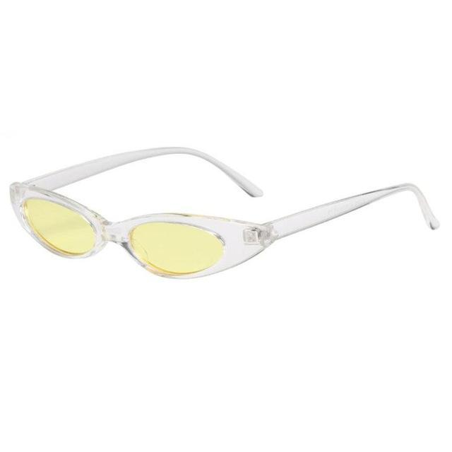 Oval Frame Cat Eye Sunglasses - Yellow Frame - Women