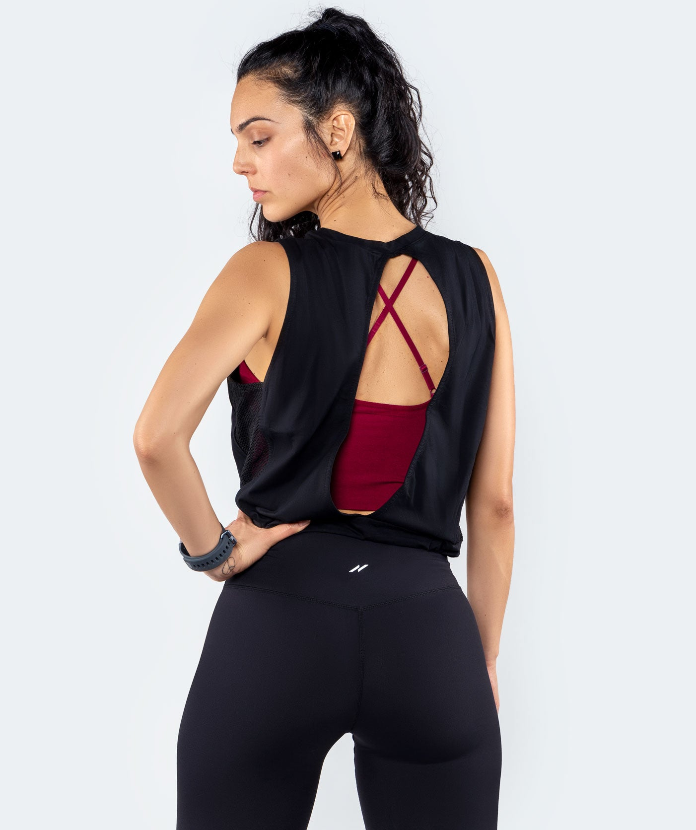 Enzo Open Back Mesh Top - Black