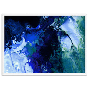 Abstract Fluid Paint in Blues - Art Print