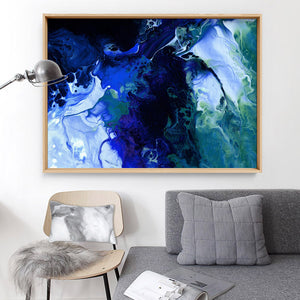 Abstract Fluid Paint in Blues - Art Print, Stretched Canvas or Framed Canvas Wall Art, Shown inside a frame