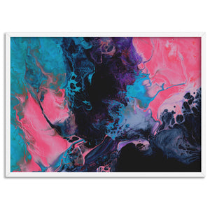Abstract Fluid Paint in Turquoise & Pinks - Art Print