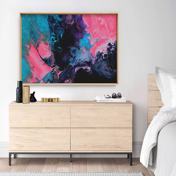 Abstract Fluid Paint in Turquoise & Pinks - Art Print, Stretched Canvas, or Framed Canvas Wall Art