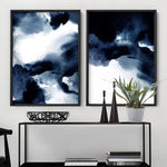 Abstract Watercolour Navy Indigo Clouds I - Art Print, Stretched Canvas, or Framed Canvas Wall Art
