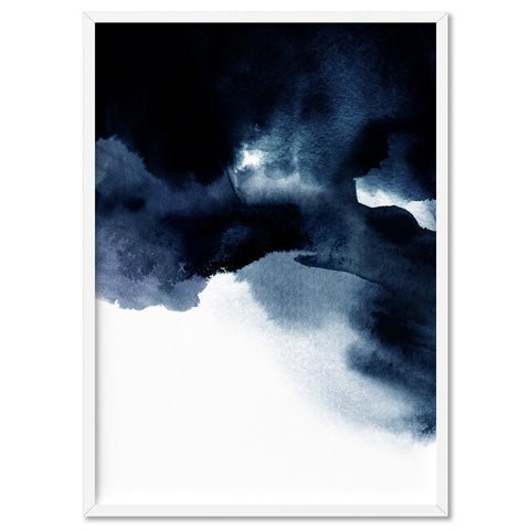 Abstract Watercolour Indigo Clouds V1 - Art Print