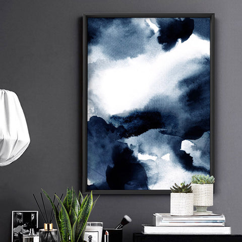 Abstract Watercolour Navy Indigo Clouds II - Art Print, Stretched Canvas, or Framed Canvas Wall Art