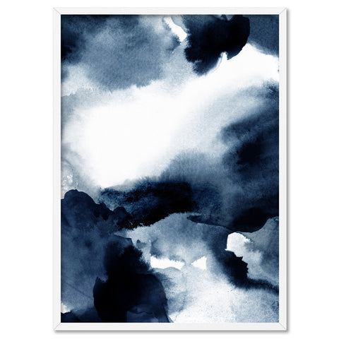 Abstract Watercolour Indigo Clouds V2 - Art Print, Stretched Canvas, or Framed Canvas Wall Art