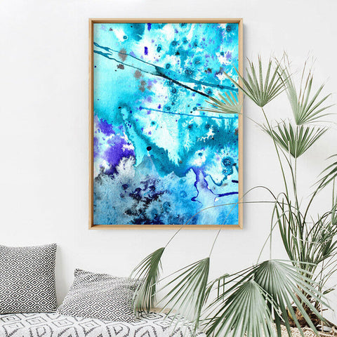 Abstract Watercolour Into the Blue V1 - Art Print, Stretched Canvas, or Framed Canvas Wall Art