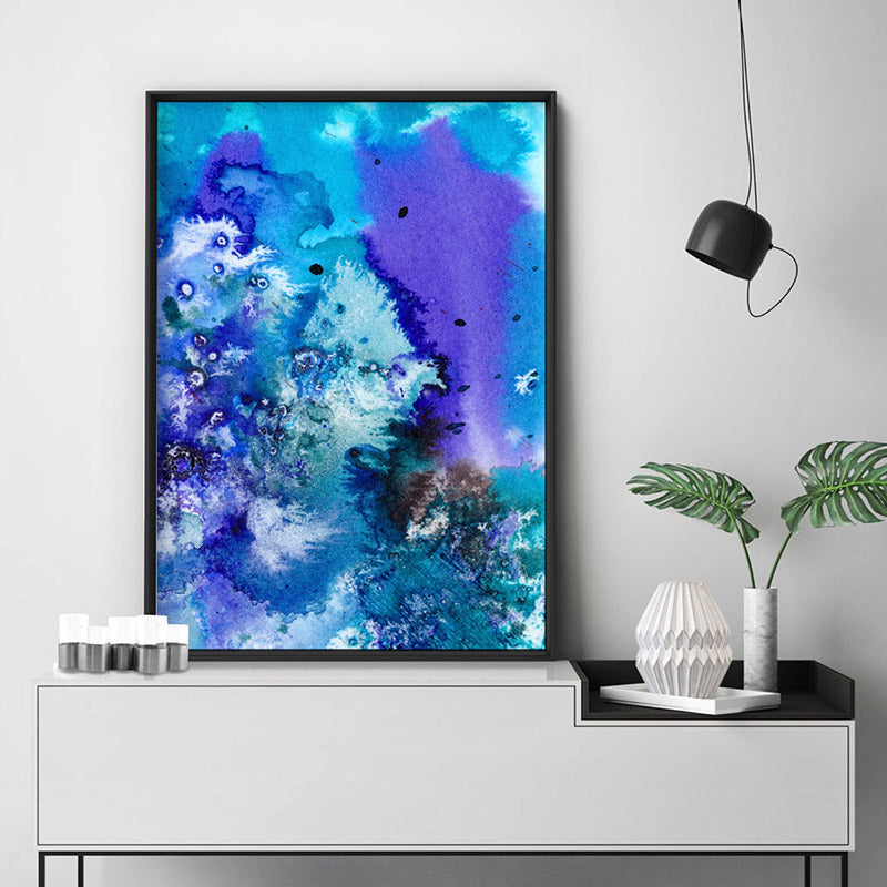 Abstract Watercolour Into the Blue II - Art Print