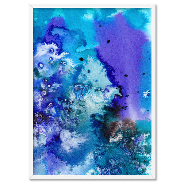 Abstract Watercolour Into the Blue V2 - Art Print