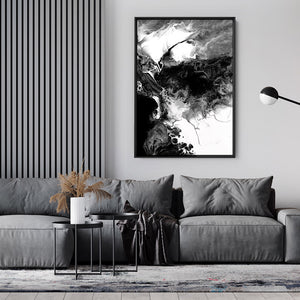 Abstract Fluid Monochrome V1 - Art Print