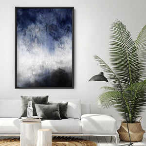 Distressed Black & Blues Abstract I - Art Print, Stretched Canvas or Framed Canvas Wall Art, Shown inside a frame