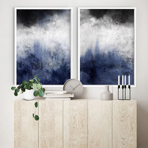 Distressed Black & Blues Abstract I - Art Print, Stretched Canvas or Framed Canvas Wall Art, Shown framed in a room mockup