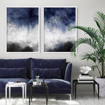 Distressed Black & Blues Abstract II - Art Print, Stretched Canvas, or Framed Canvas Wall Art