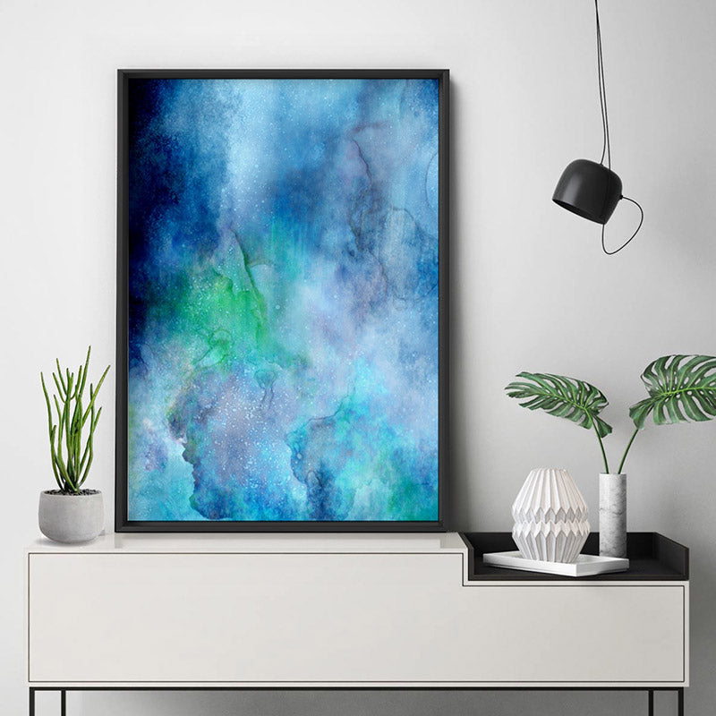 Abstract Watercolour & Ink Blue Depths - Art Print, Stretched Canvas, or Framed Canvas Wall Art