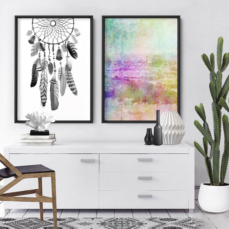 Distressed Rainbow Abstract - Art Print, Stretched Canvas or Framed Canvas Wall Art, Shown framed in a room mockup