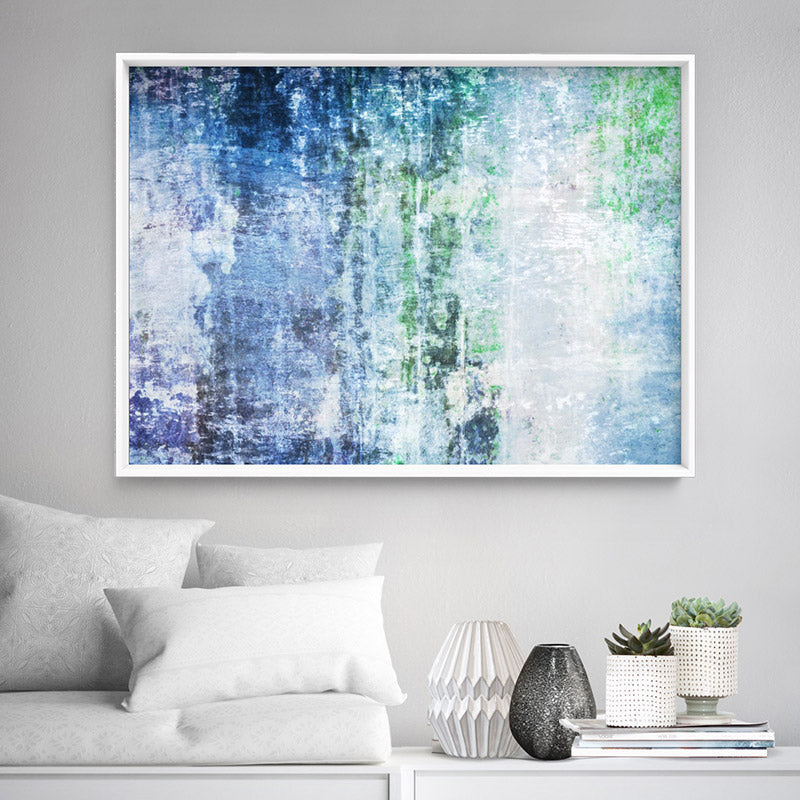 Distressed Blues & Greens Abstract - Art Print, Stretched Canvas or Framed Canvas Wall Art, Shown inside a frame