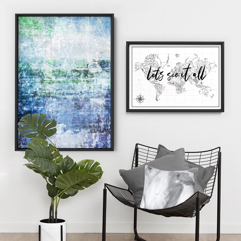 Distressed Blues & Greens Abstract - Art Print, Stretched Canvas or Framed Canvas Wall Art, Shown framed in a room mockup