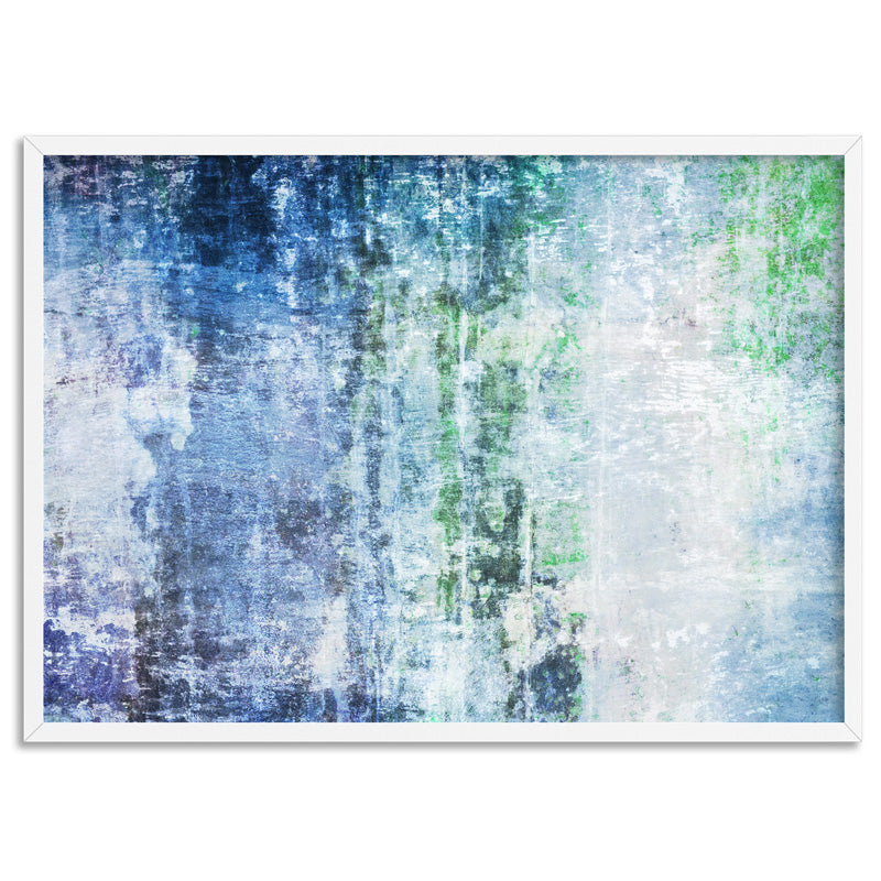 Distressed Blues & Greens Abstract - Art Print, Stretched Canvas, or Framed Canvas Wall Art