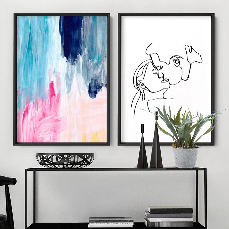 Load image into Gallery viewer, Abstract Brights Painting - Art Print, Stretched Canvas or Framed Canvas Wall Art, Shown framed in a room mockup