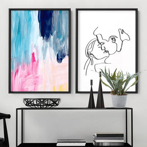 Abstract Brights Painting - Art Print, Stretched Canvas or Framed Canvas Wall Art, Shown framed in a room mockup