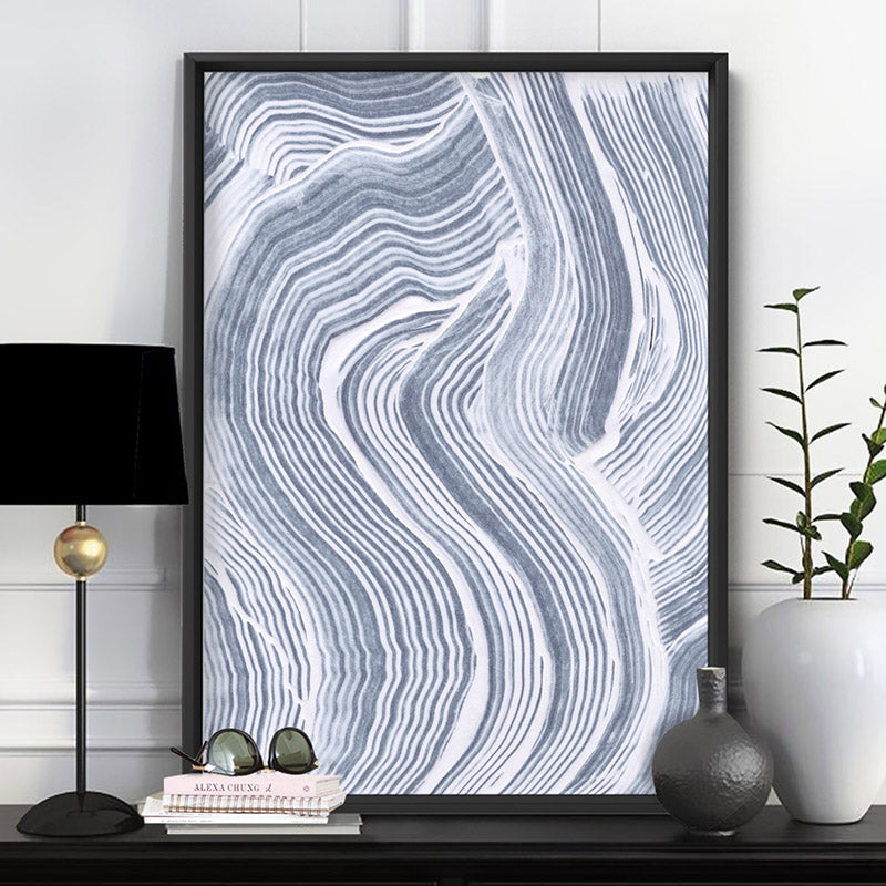 Abstract Paint Texture Lines in Grey & White - Art Print, Stretched Canvas or Framed Canvas Wall Art, Shown inside a frame