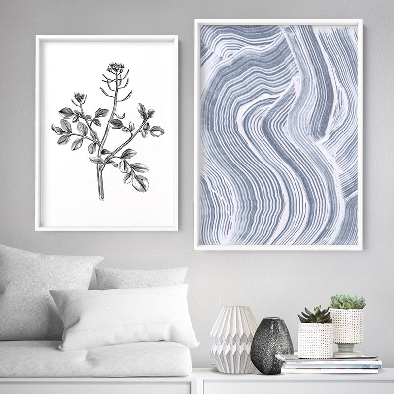 Abstract Paint Texture Lines in Grey & White - Art Print, Stretched Canvas or Framed Canvas Wall Art, Shown framed in a room mockup