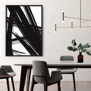 Abstract Bold Lines in Black & White I - Art Print, Stretched Canvas or Framed Canvas Wall Art, Shown inside a frame