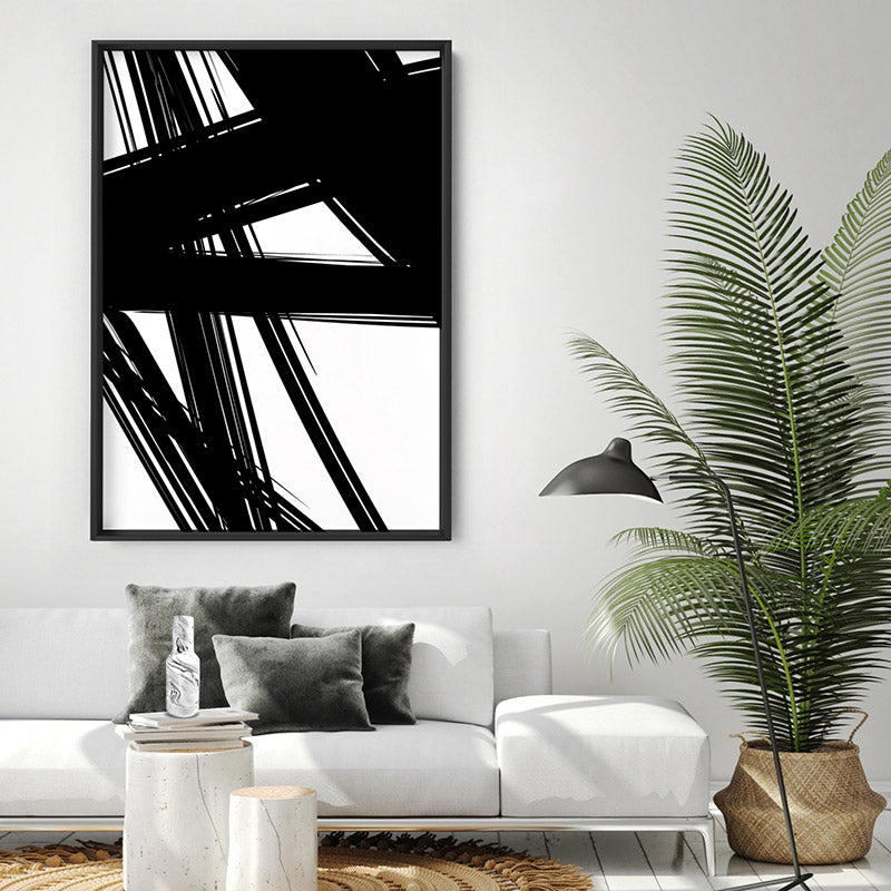Abstract Bold Lines in Black & White II - Art Print, Stretched Canvas or Framed Canvas Wall Art, Shown inside a frame