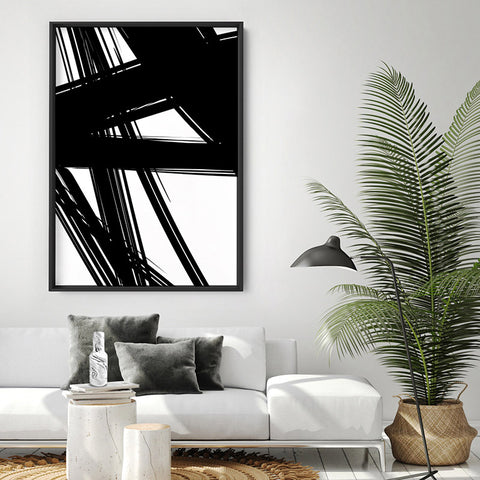 Abstract Bold Lines in Black & White II - Art Print, Stretched Canvas, or Framed Canvas Wall Art