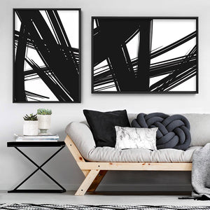 Abstract Bold Lines in Black & White II - Art Print, Stretched Canvas or Framed Canvas Wall Art, Shown framed in a room mockup