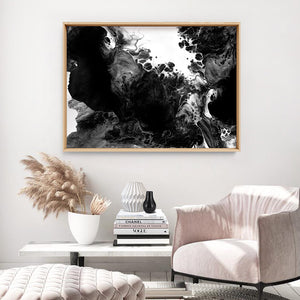 Abstract Fluid Monochrome III - Art Print, Stretched Canvas or Framed Canvas Wall Art, Shown inside a frame