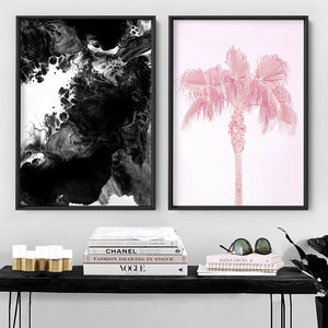 Abstract Fluid Monochrome III - Art Print, Stretched Canvas or Framed Canvas Wall Art, Shown framed in a room mockup