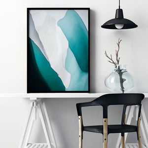 Aerial Abstract | Frozen Lake - Art Print, Stretched Canvas or Framed Canvas Wall Art, Shown inside a frame
