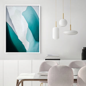 Aerial Abstract | Frozen Lake - Art Print, Stretched Canvas or Framed Canvas Wall Art, Shown framed in a room mockup