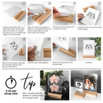 Clear Acrylic Photo Frame with Natural Wood Base