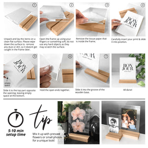 Clear Acrylic Photo Frame with Natural Wood Base Step by step usage instructions.